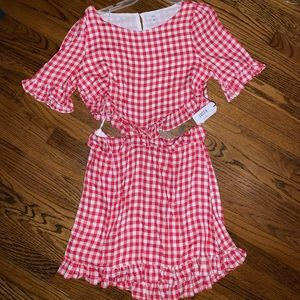 Lucca dress - red checkered (L)